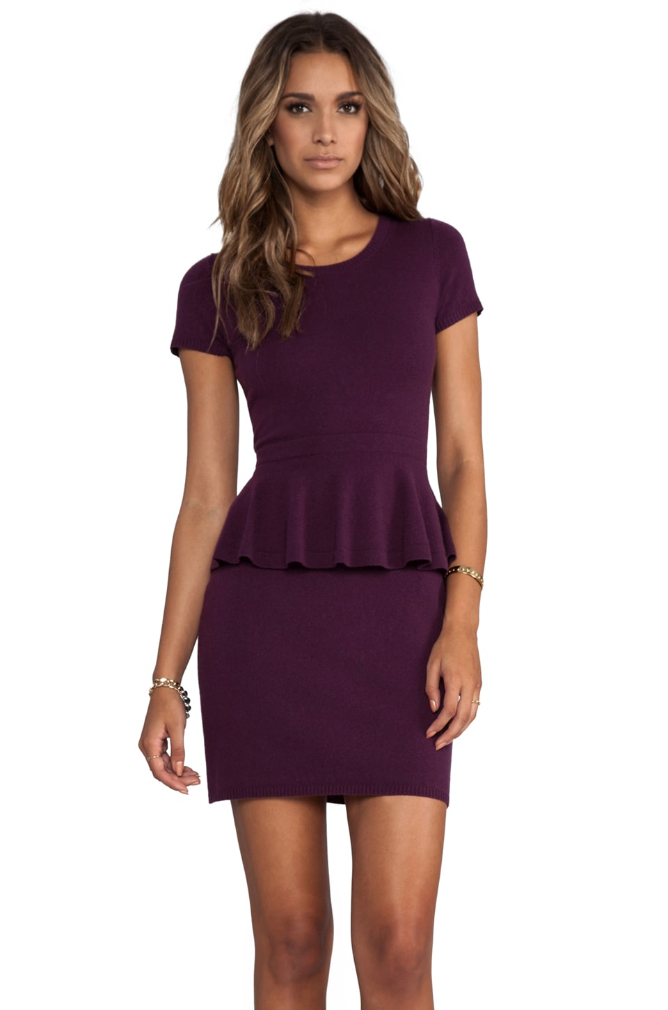 Autumn Cashmere Peplum Zip Back Dress in Port
