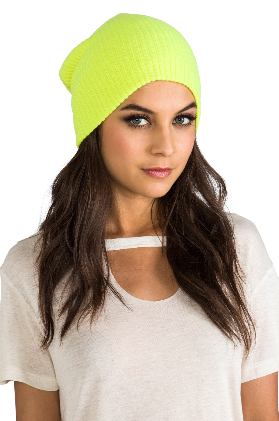 Autumn Cashmere Ribbed Bag Hat in Day Glo