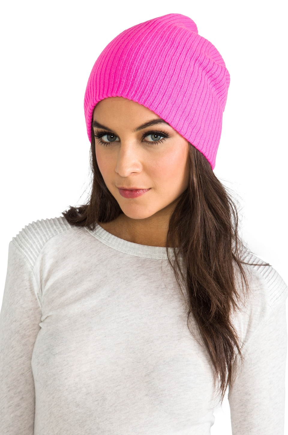 Autumn Cashmere Ribbed Bag Hat in Shock