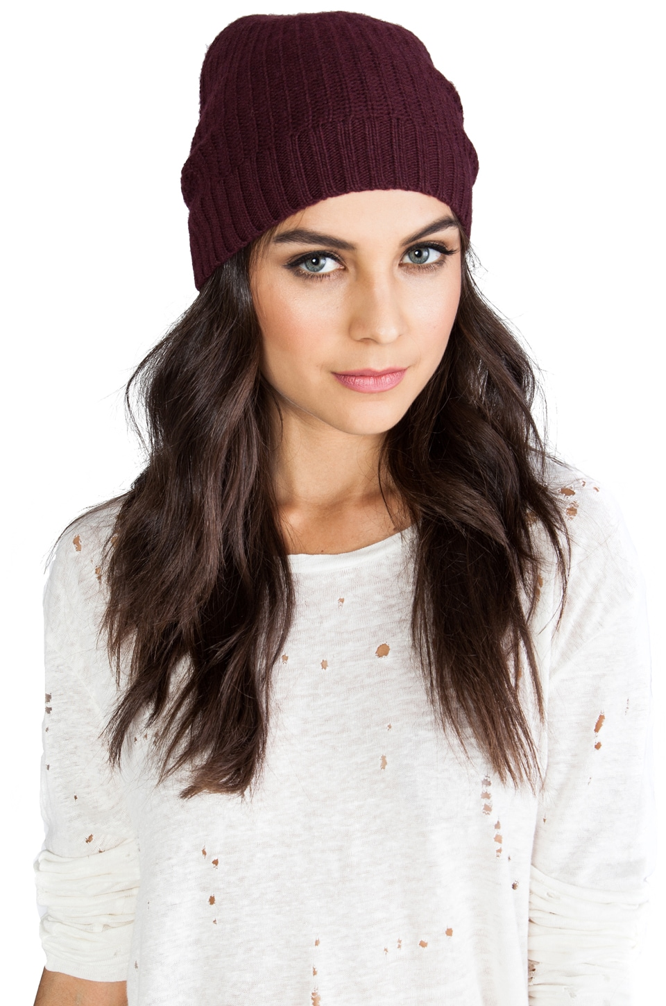 Autumn Cashmere 1/2 Cardigan Stitch Hat in Wine