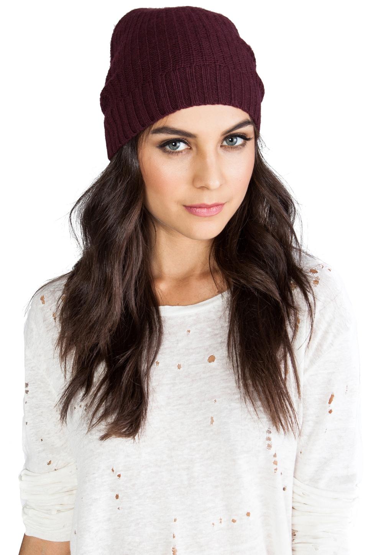 Autumn Cashmere 1/2 Cardigan Stitch Hat in Wine