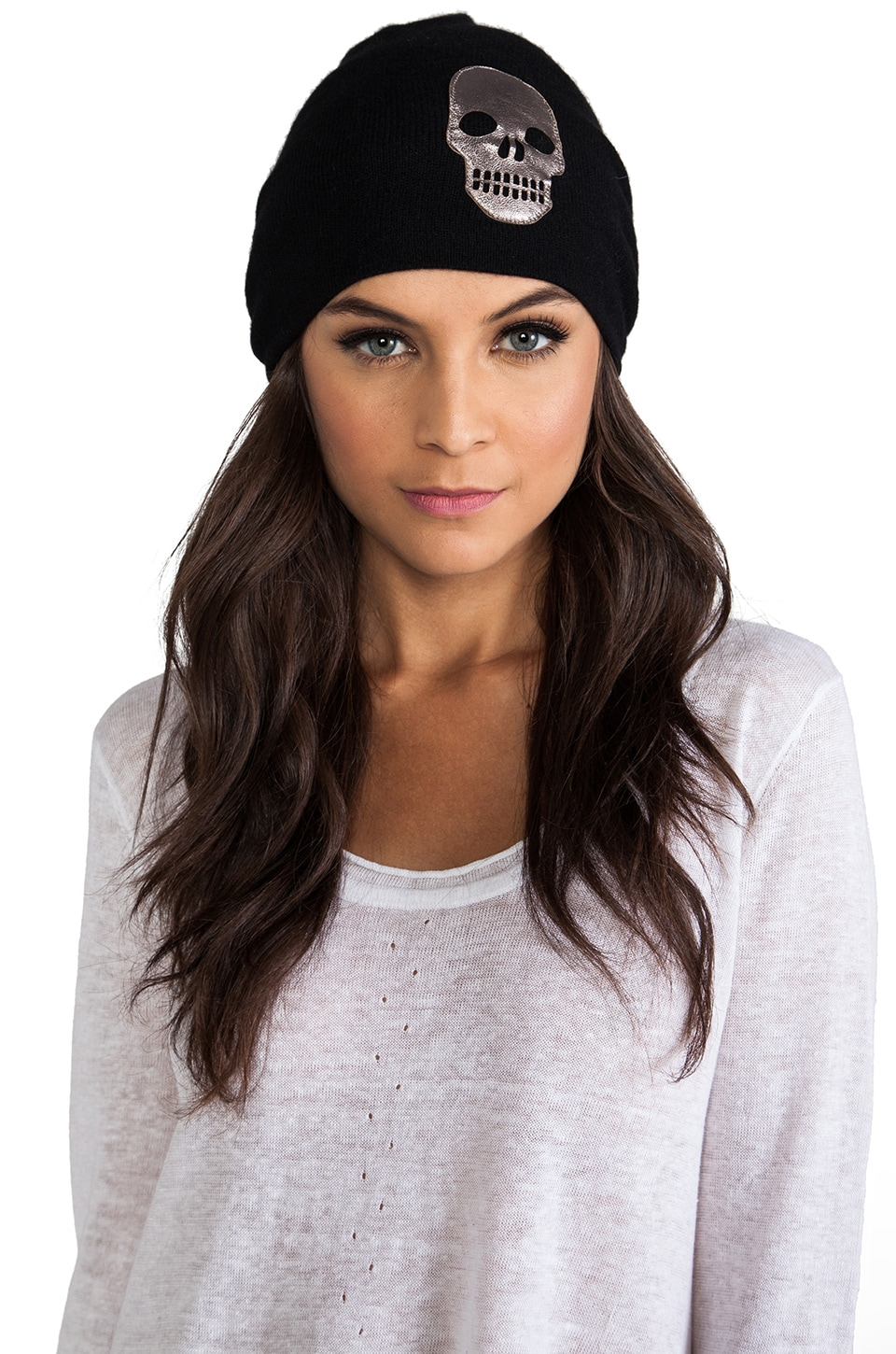 Autumn Cashmere Bag Hat w/ Leather Skull in Black Combo