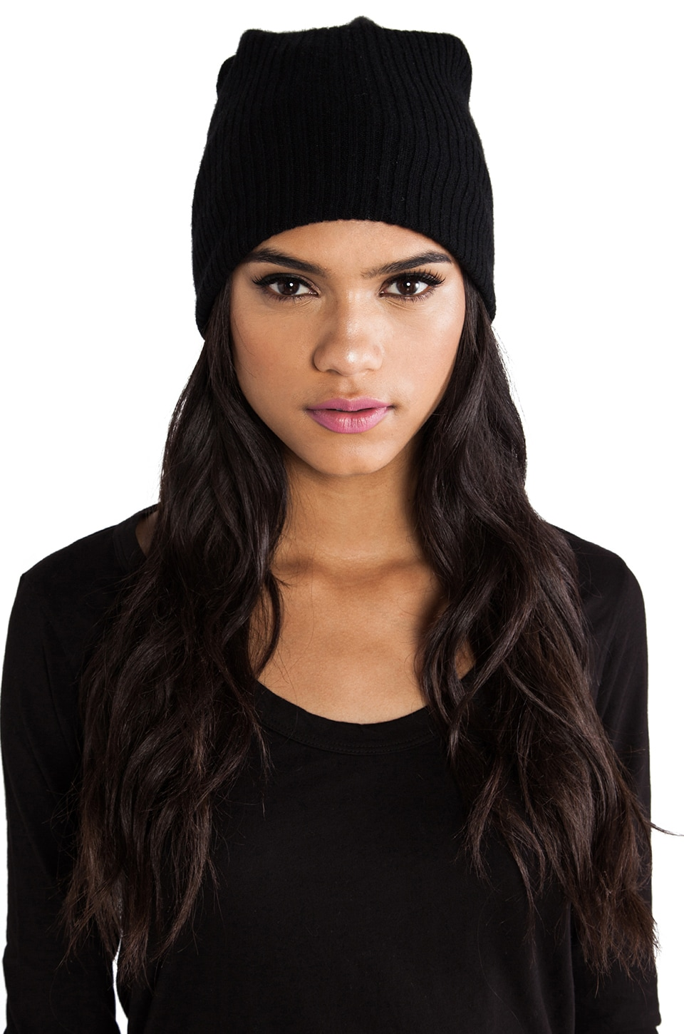 Autumn Cashmere Ribbed Bag Hat in Black