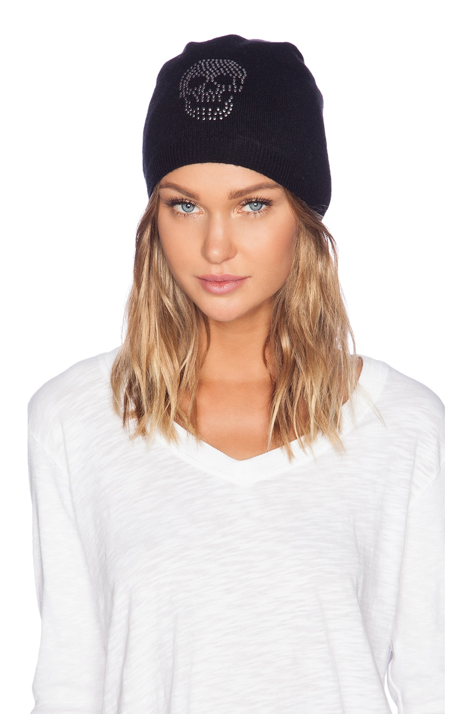 Autumn Cashmere Studded Skull Beanie in Black