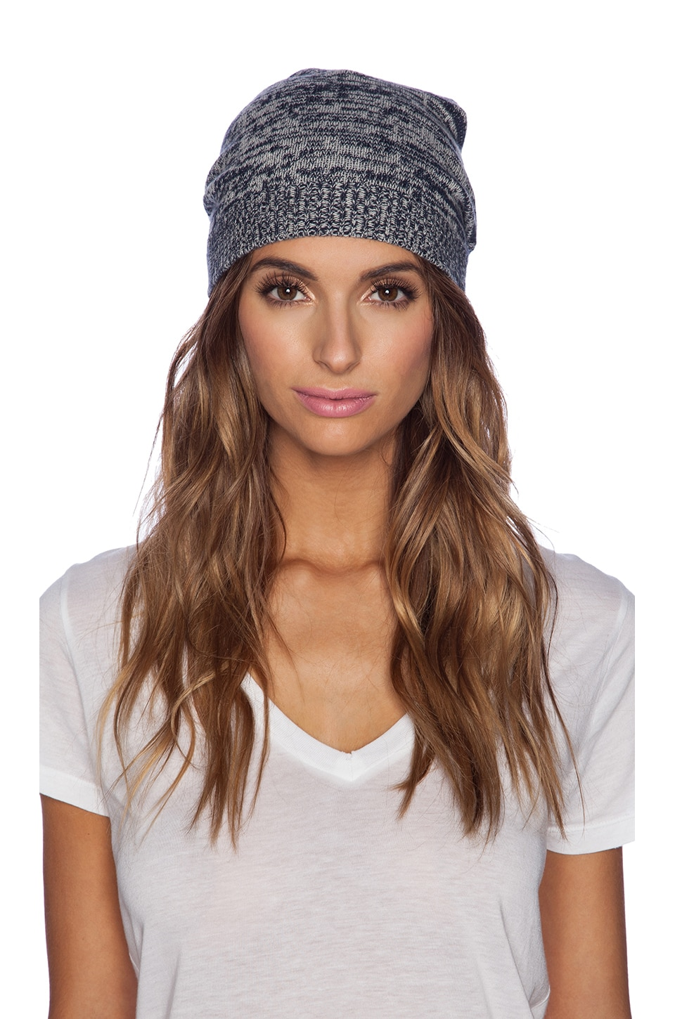 Autumn Cashmere Marled Beanie in Navy & Hemp