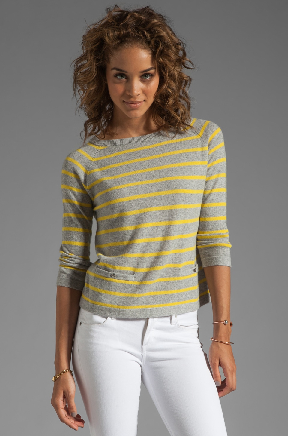 Autumn Cashmere Pencil Stripe Boxy Crew with Pockets in Bankers Sweatshirt/Saffron
