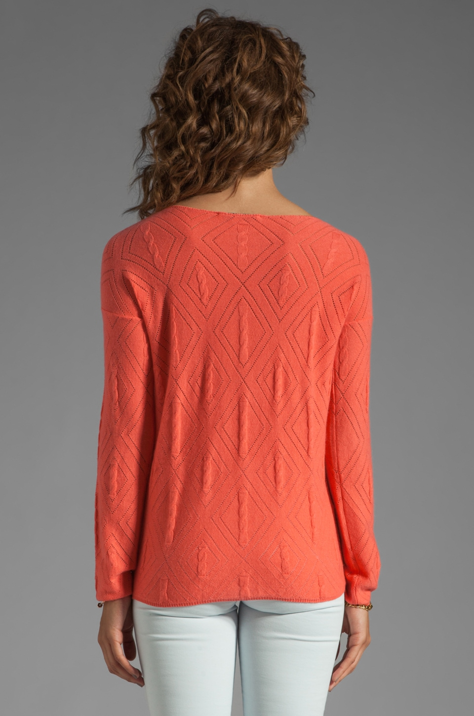 Autumn Cashmere Cable Diamond Pointelle Boatneck in Coral