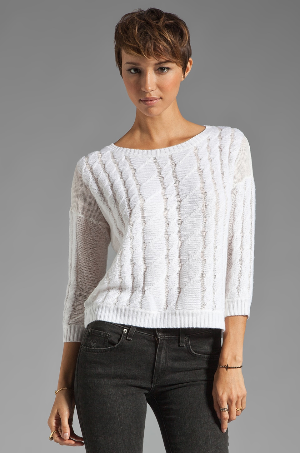 Autumn Cashmere Sheer Cable Pullover in White