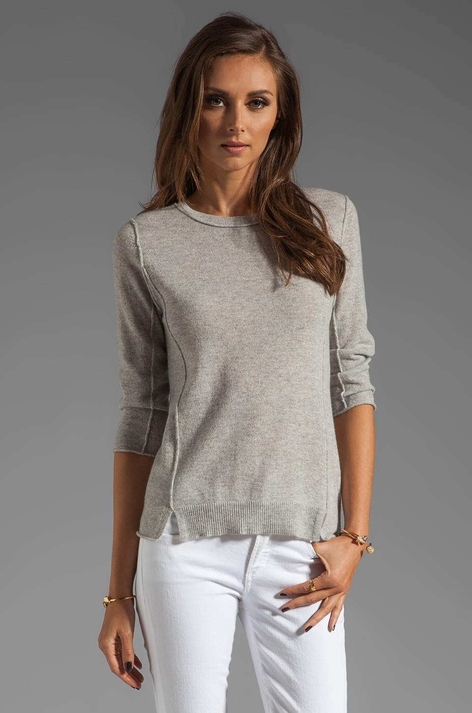 Autumn Cashmere Crew with Slash Detail Sweater in Fog