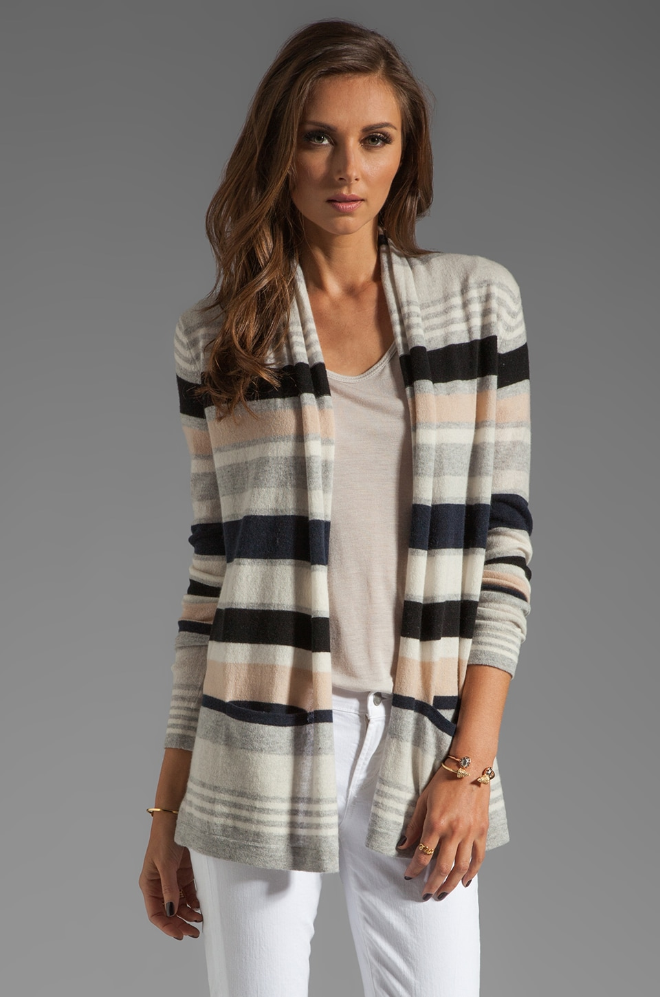 Autumn Cashmere Multi Stripe Drape Sweater in Neutral Combo