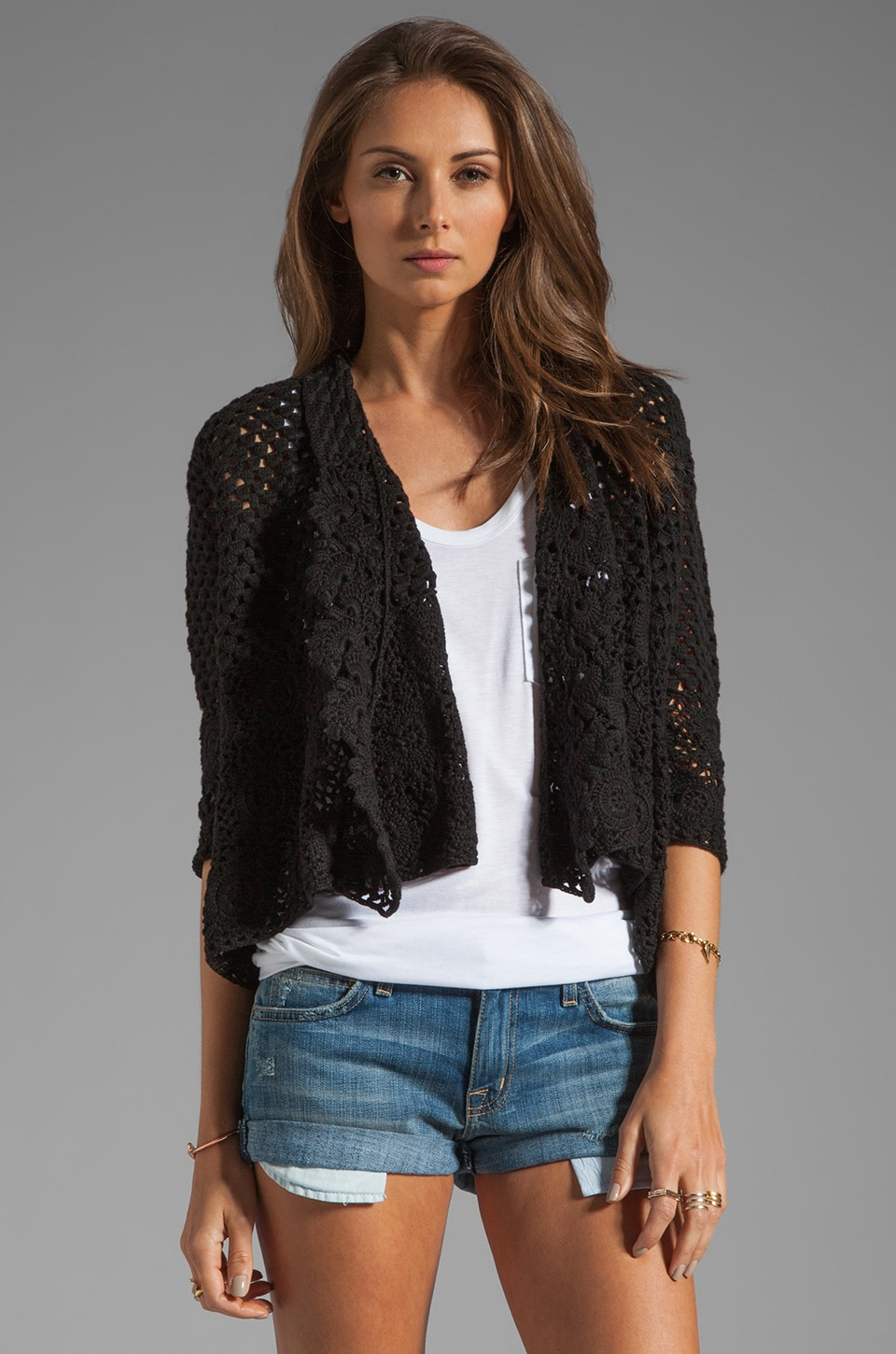 Autumn Cashmere Crochet Drape Sweater in Black
