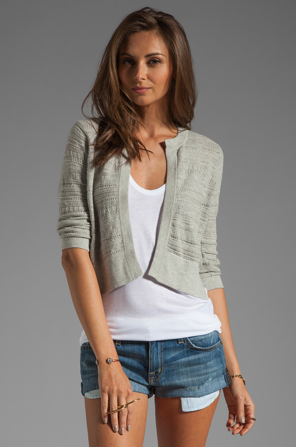 Autumn Cashmere Multi Stitch Open Cardigan in Cinderblock