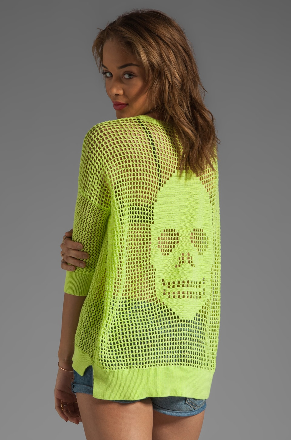 Autumn Cashmere Hand Crochet Skull Sweater in Glowworm/Glowworm