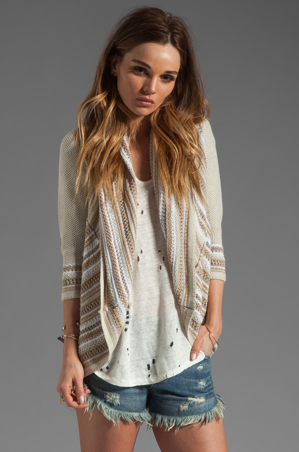 Autumn Cashmere Multi Stitch Drape Sweater in Neutral Combo