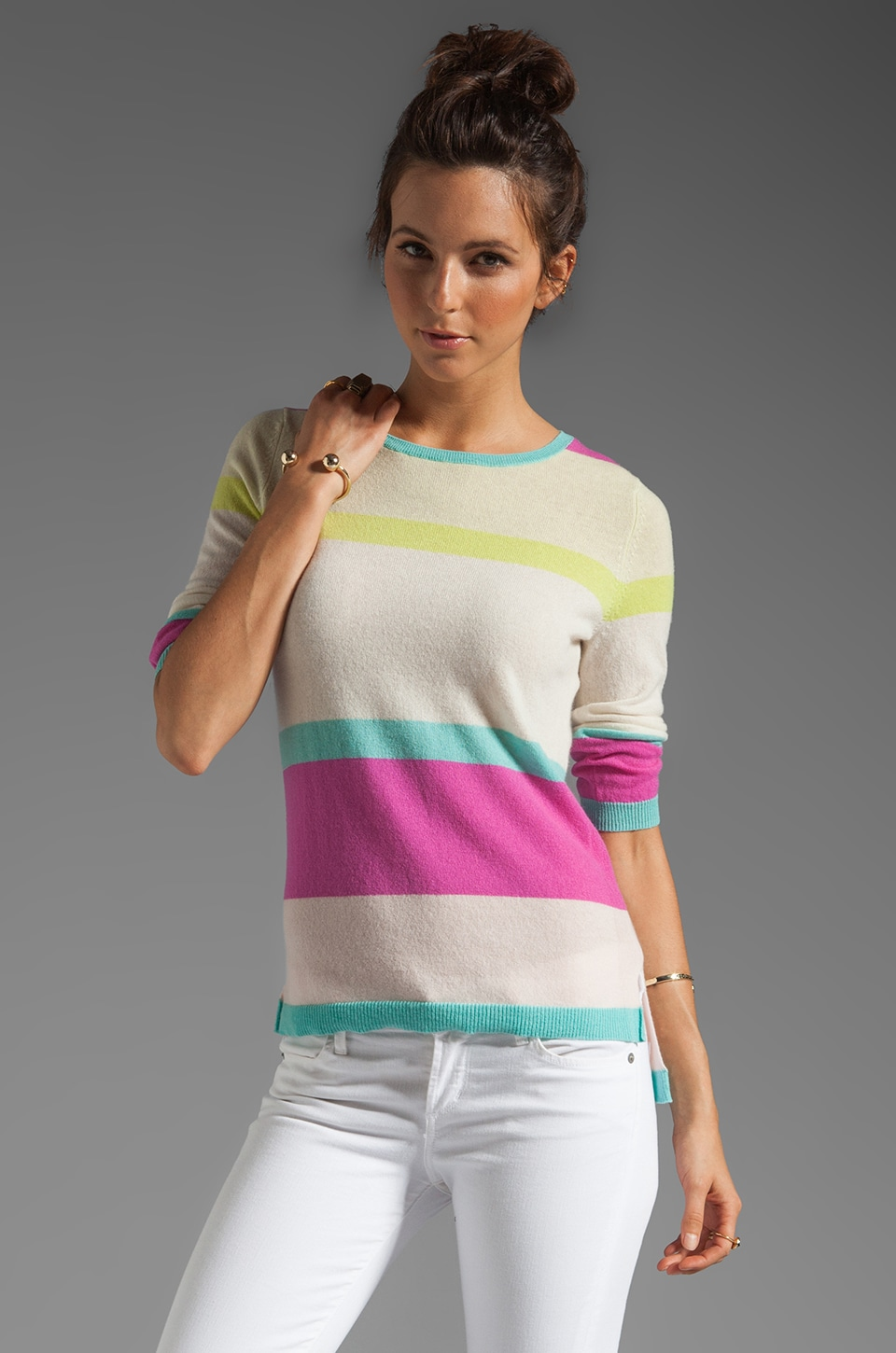 Autumn Cashmere Stripe Hi Lo Sweater in Bright Combo