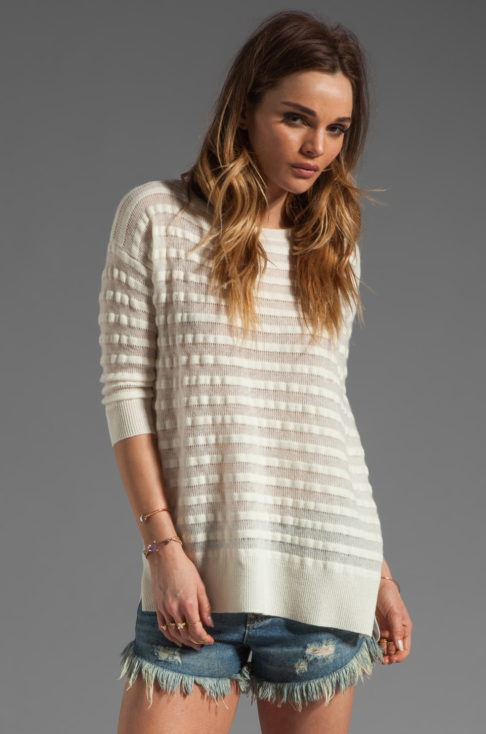 Autumn Cashmere Shadow Stripe Boatneck Sweater in Milk
