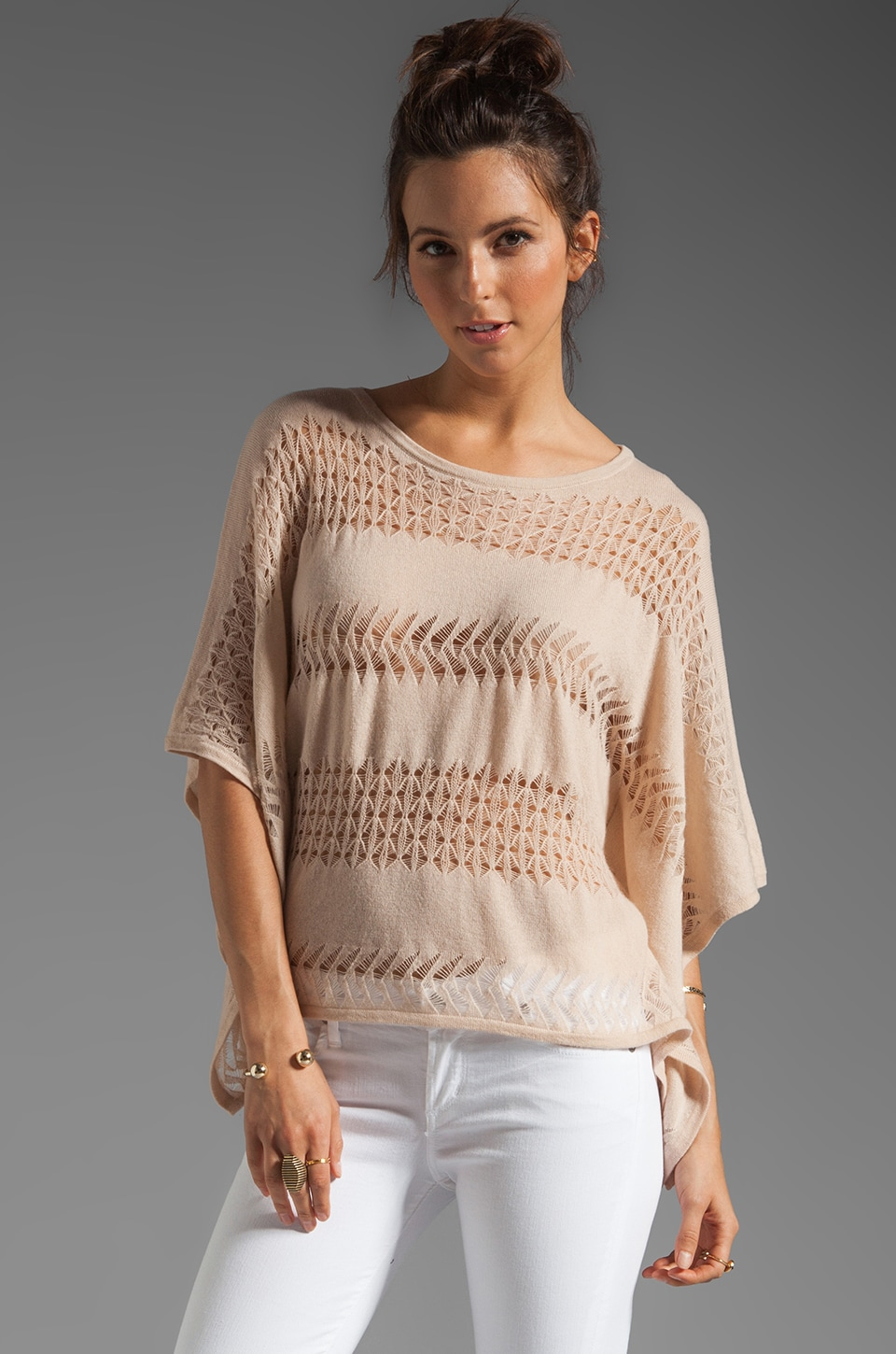 Autumn Cashmere Pointelle Stitched Poncho in Biscotti