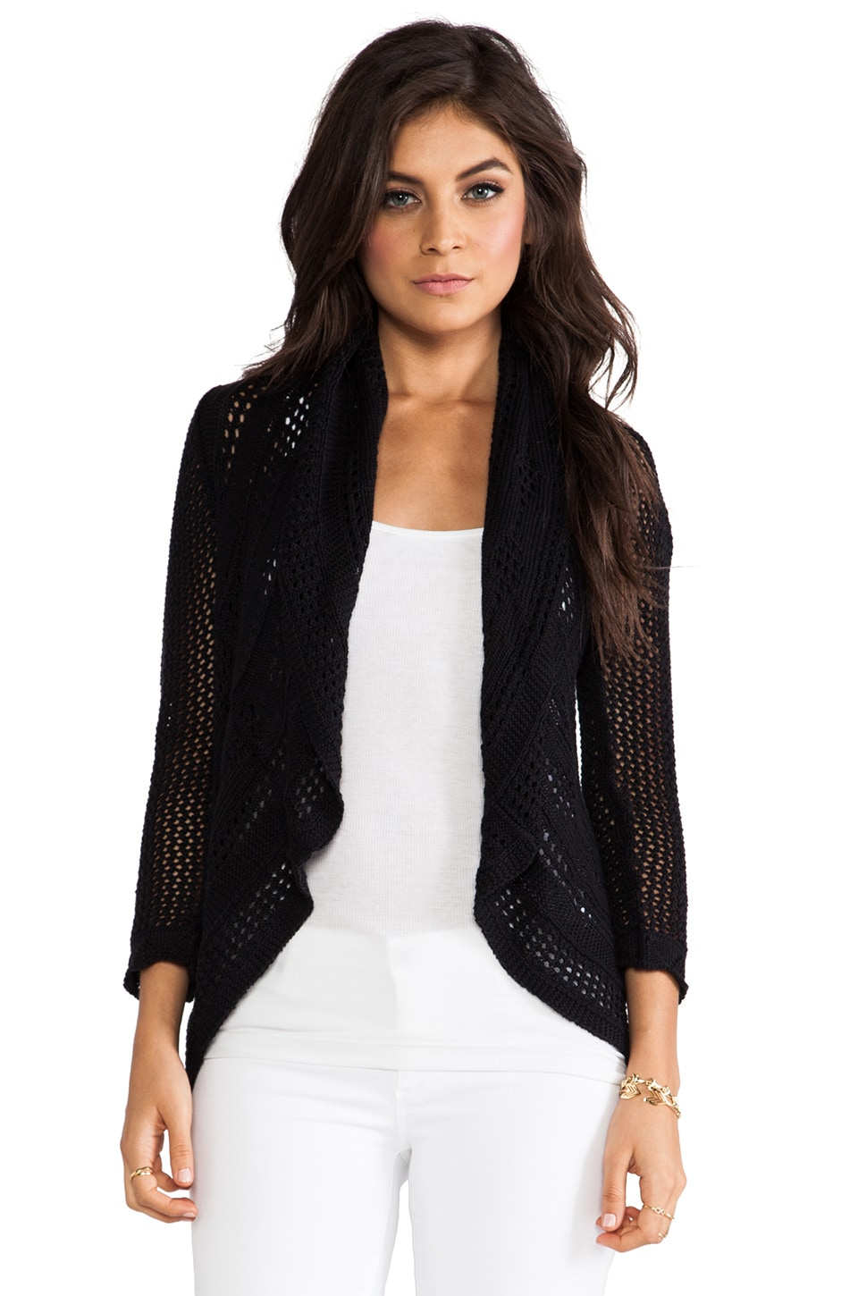 Autumn Cashmere 3/4 Sleeve Pointelle Drape Cardi in Black