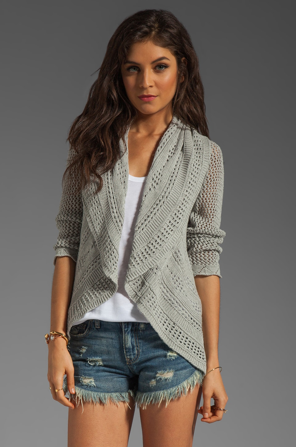 Autumn Cashmere 3/4 Sleeve Pointelle Drape Cardi in Cinderblock