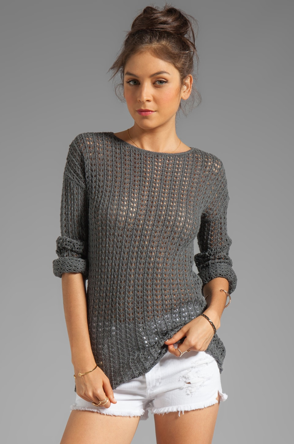 Autumn Cashmere Long Sleeve Open Stitch Sweater in Asphalt
