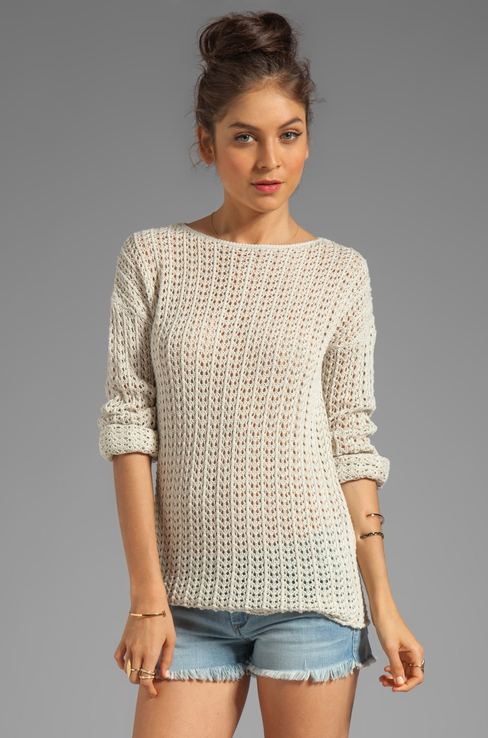 Autumn Cashmere Long Sleeve Open Stitch Sweater in Hemp