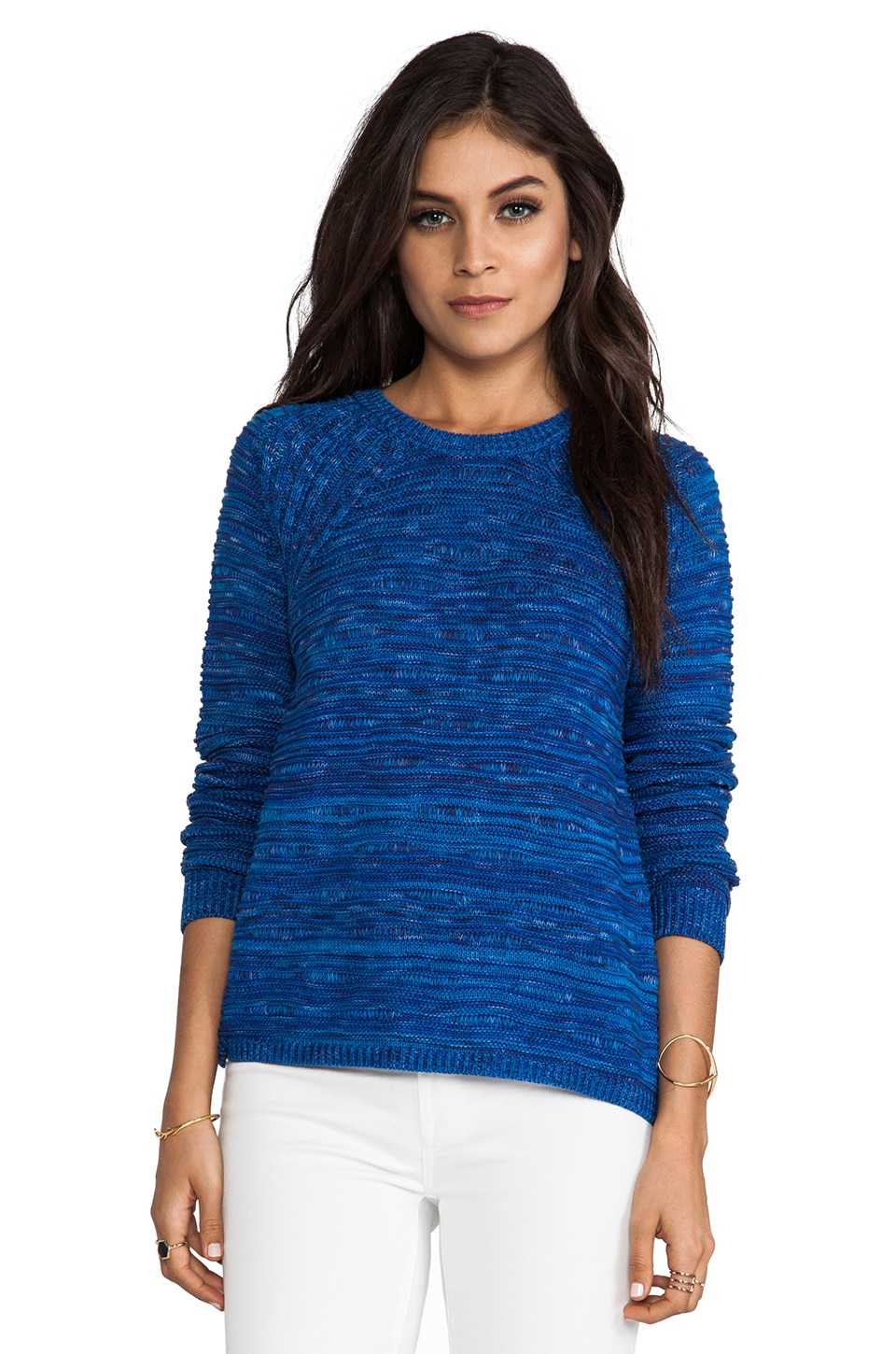 Autumn Cashmere Wavy Space Dye Crew Sweater in Blue Combo