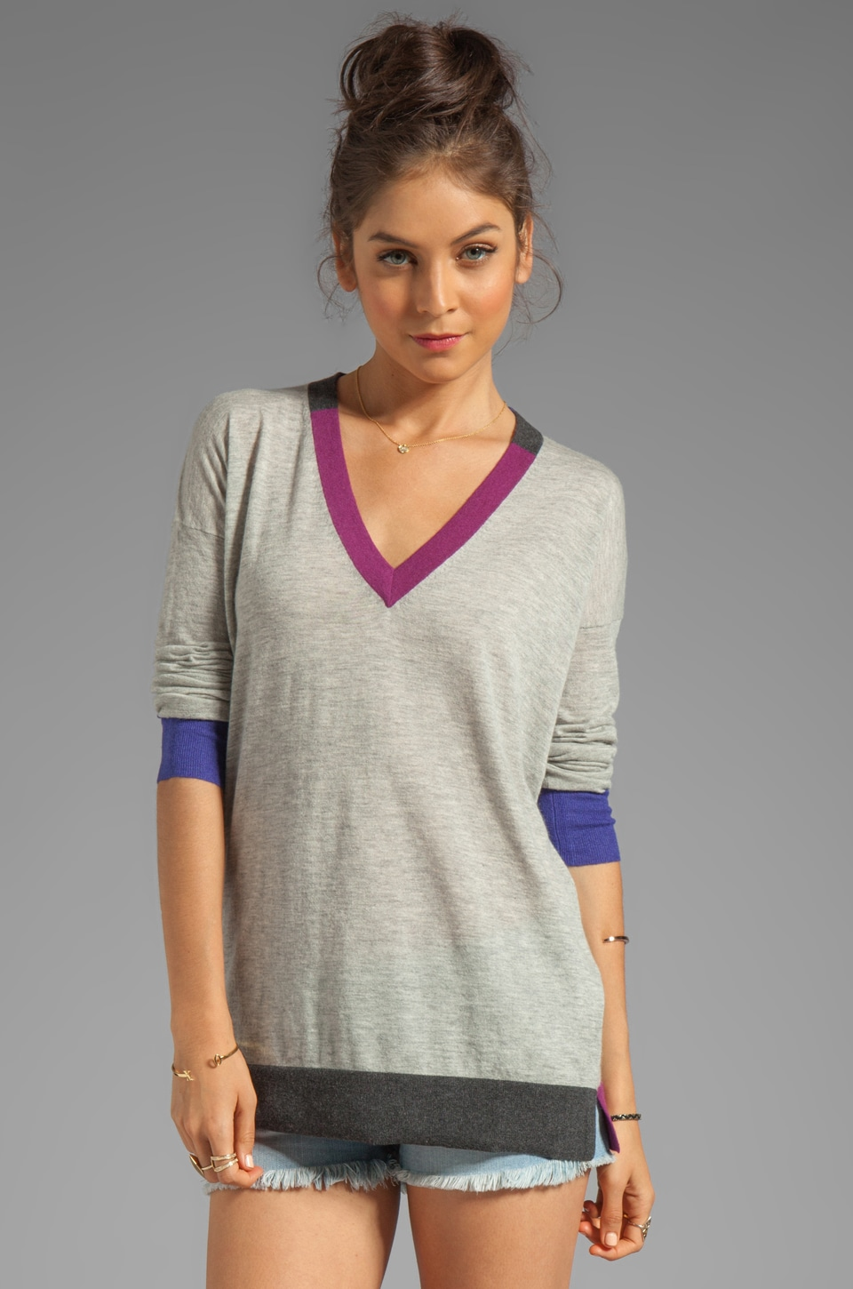 Autumn Cashmere Tissue Cashmere Color Block V Neck Tunic Sweater in Birch Brights Combo