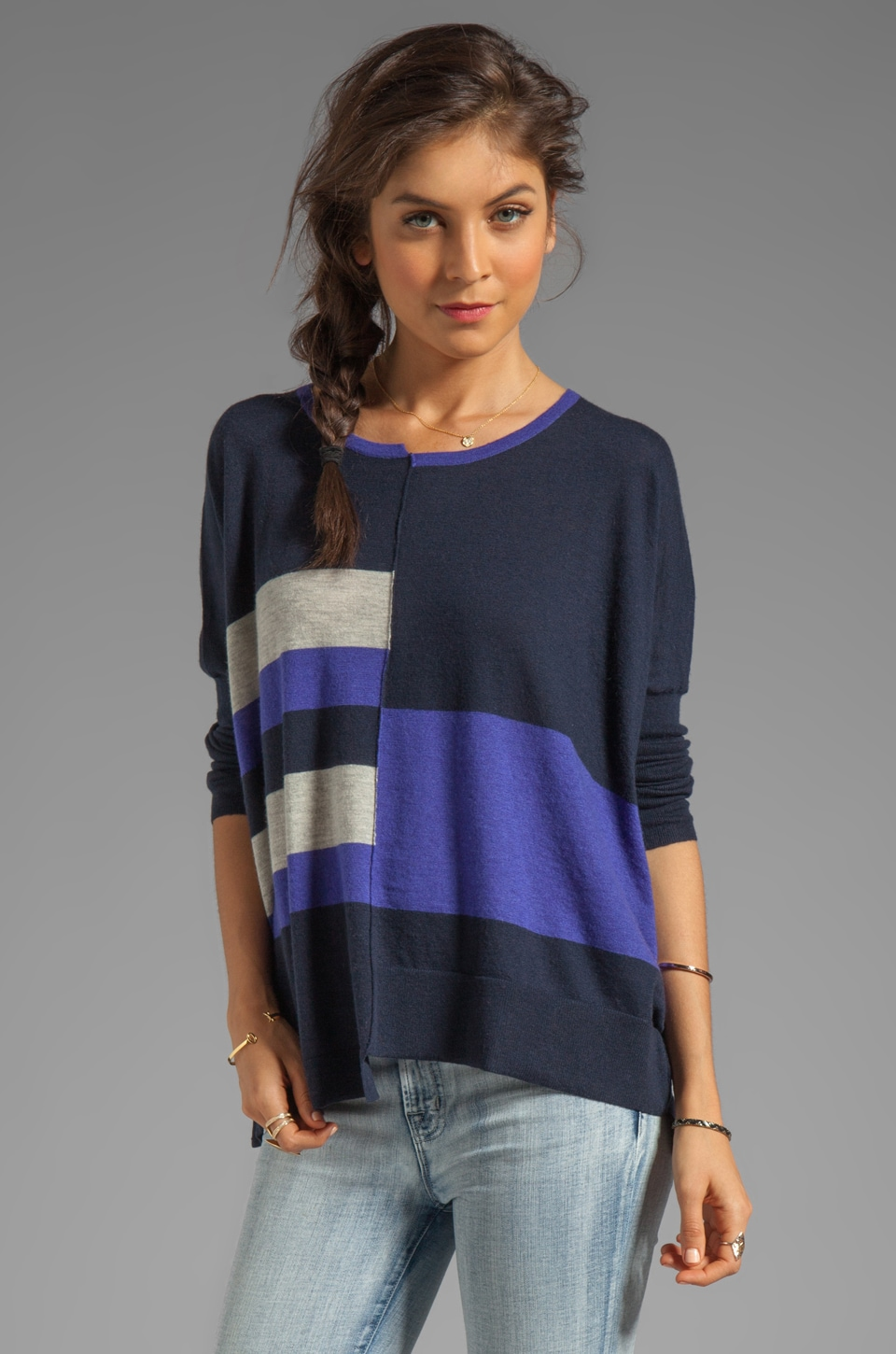Autumn Cashmere Tissue Cashmere Stripe Block Crew in Peacoat/Sodalite/Birch