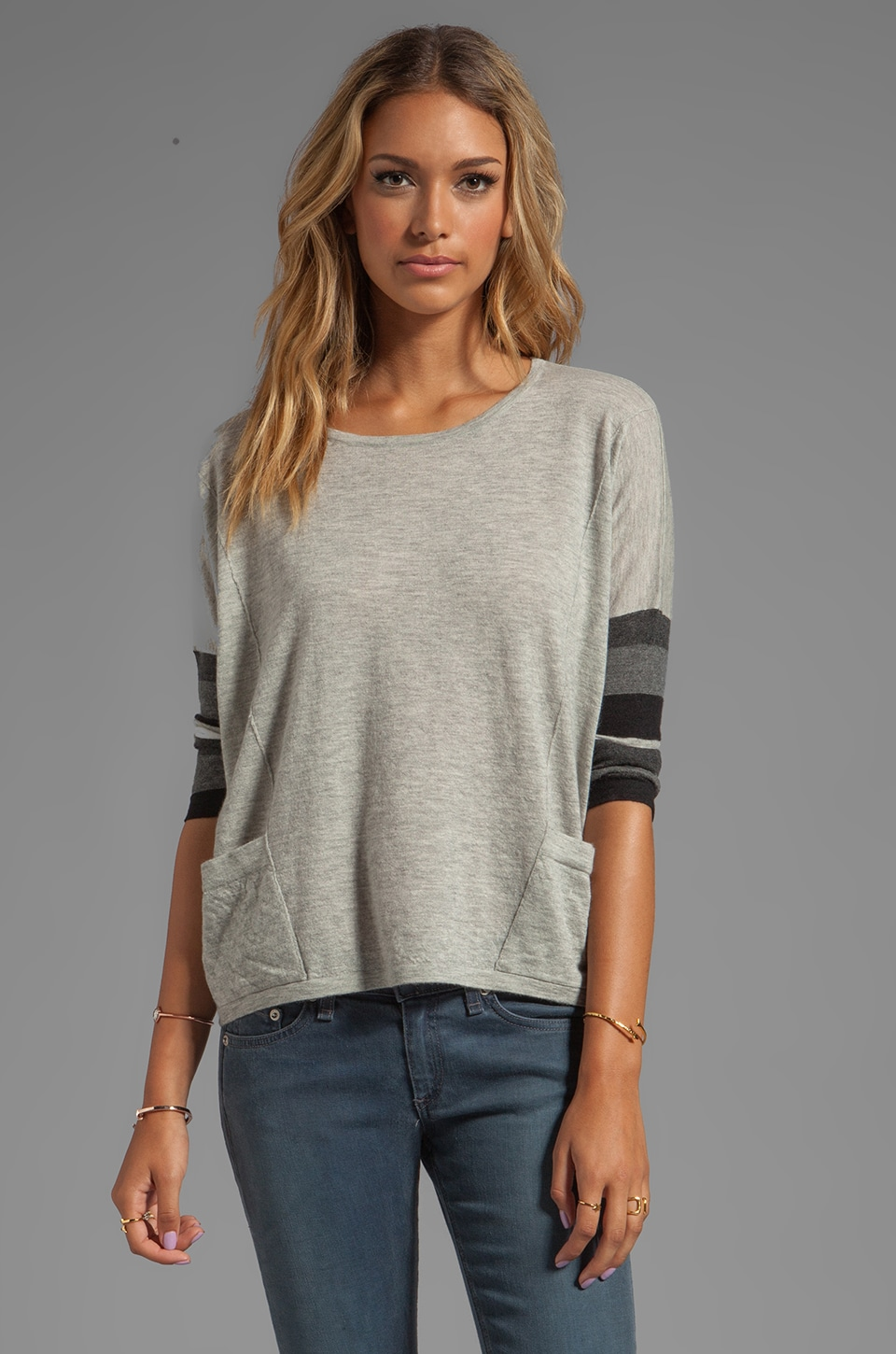 Autumn Cashmere Tissue Cashmere Boxy Striped Sleeve With Pockets Sweater in Birch/Neutrals