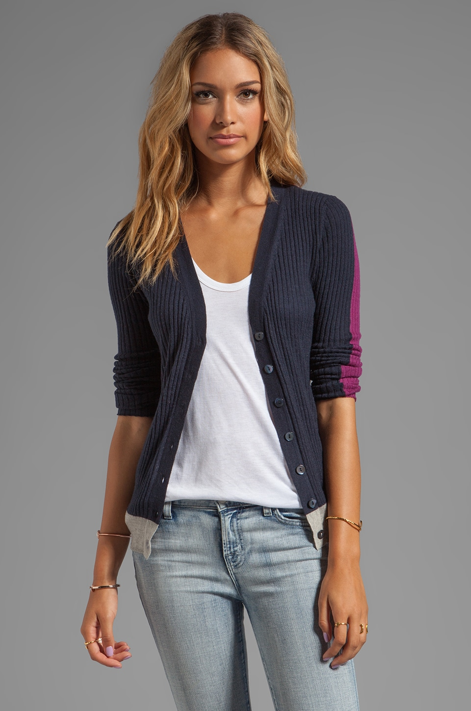 Autumn Cashmere Tissue Cashmere Ribbed Color Block V Neck Cardigan in Birch/Navy/Pomegranate