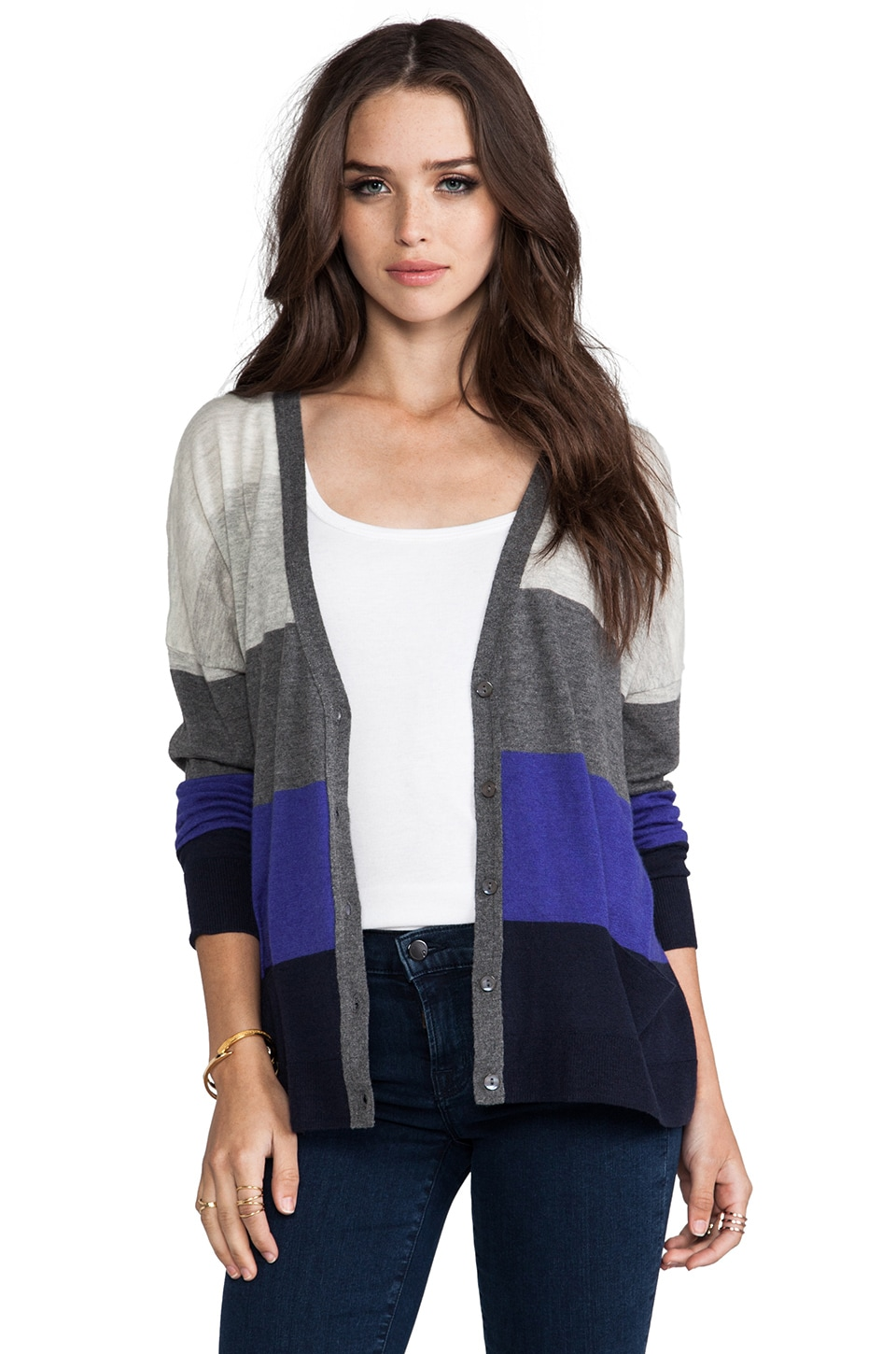 Autumn Cashmere Tissue Cashmere Rectangle Stripe Cardigan in Peacoat/Sodalite