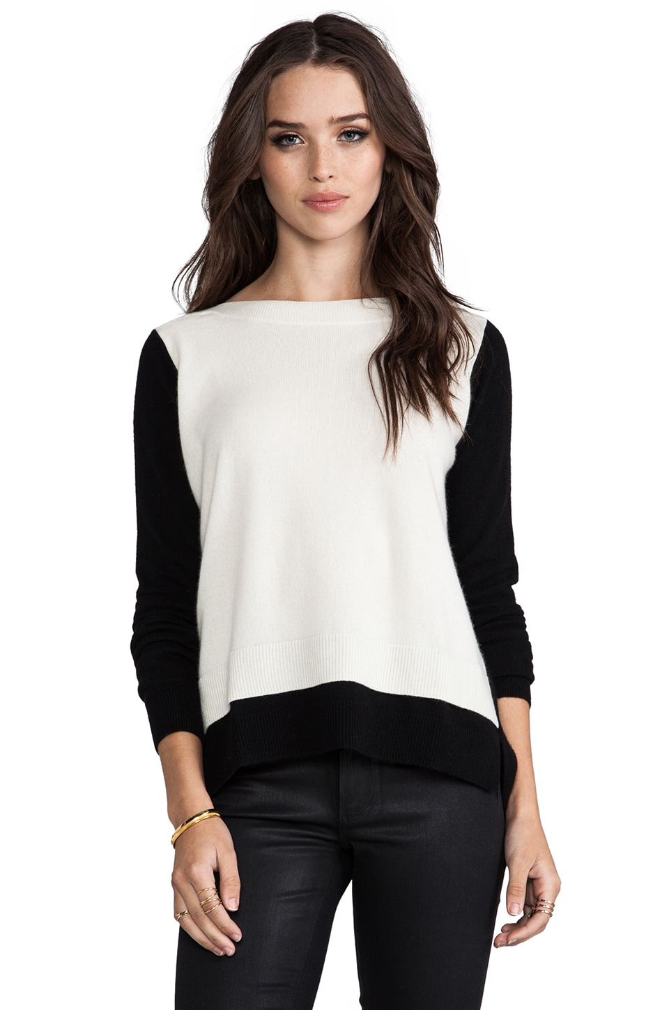 Autumn Cashmere 2-Tone Layered Boatneck Sweater in Black/White