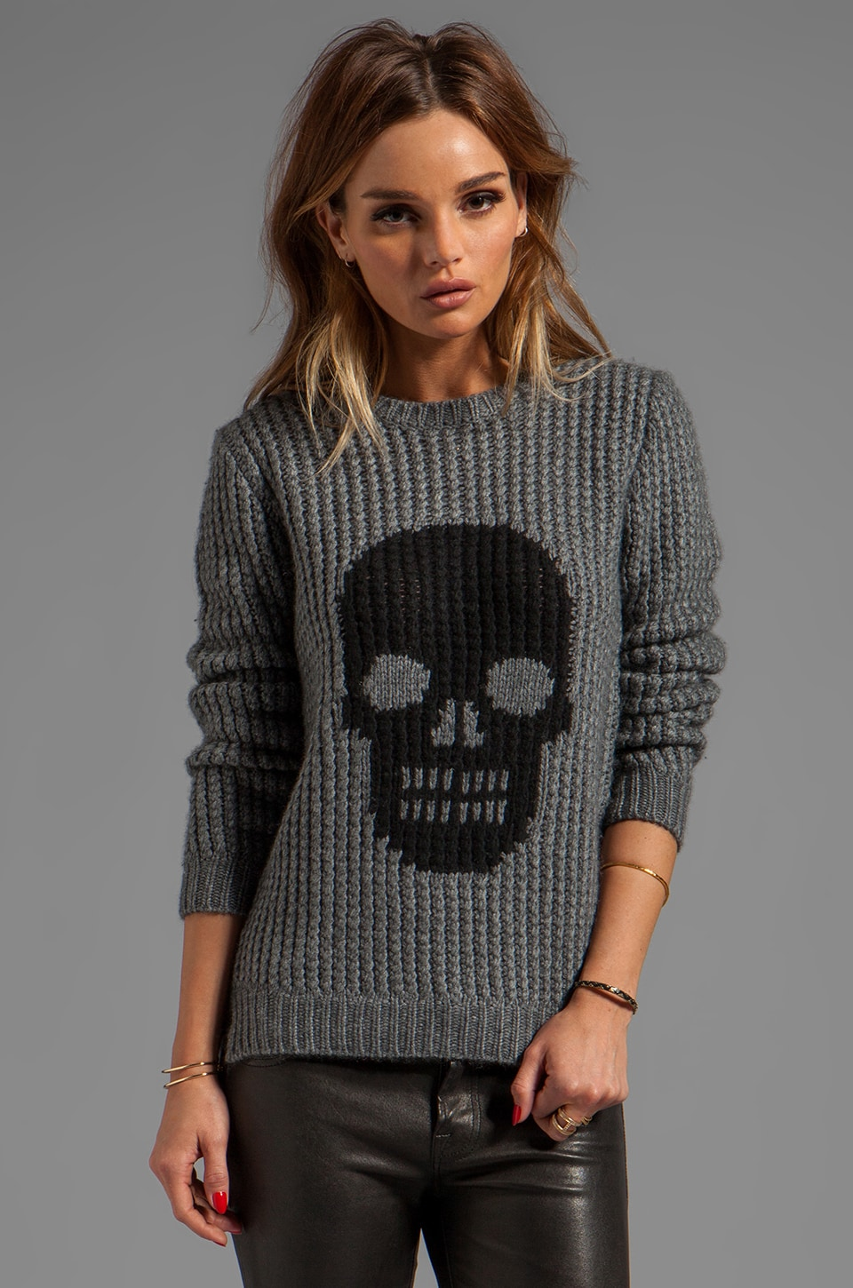 Autumn Cashmere Handknit Skull Crew Sweater in Flannel/Ebony