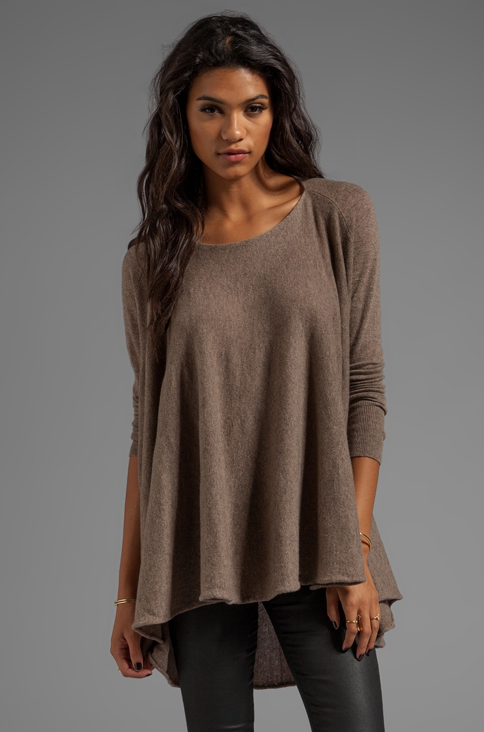 Autumn Cashmere Convertible Flare Tunic/Drape Cardigan in Rye