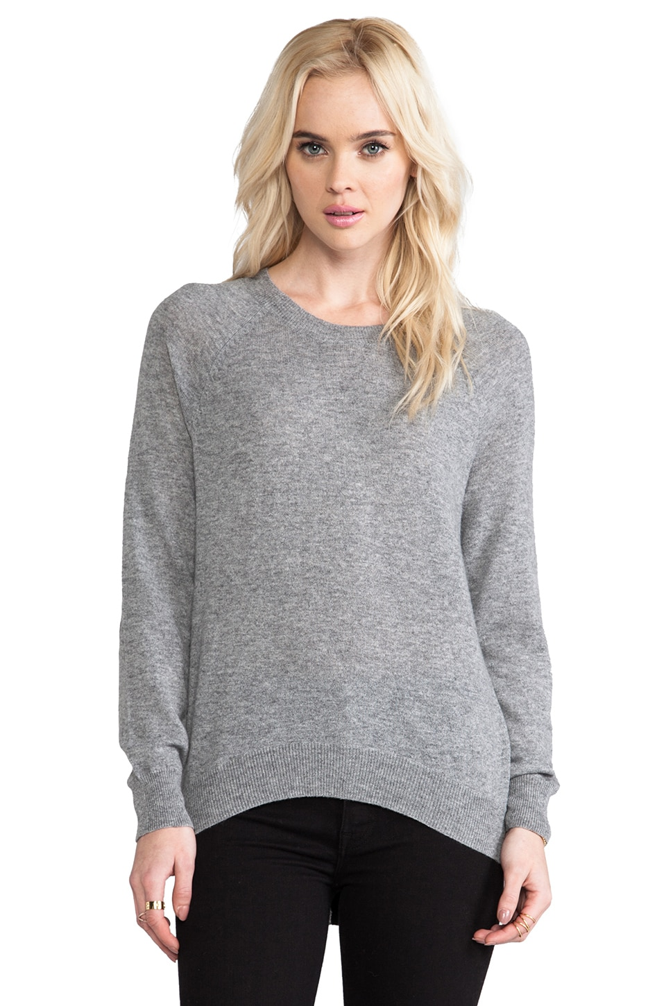 Autumn Cashmere Zip Back Raglan in Cement/Black