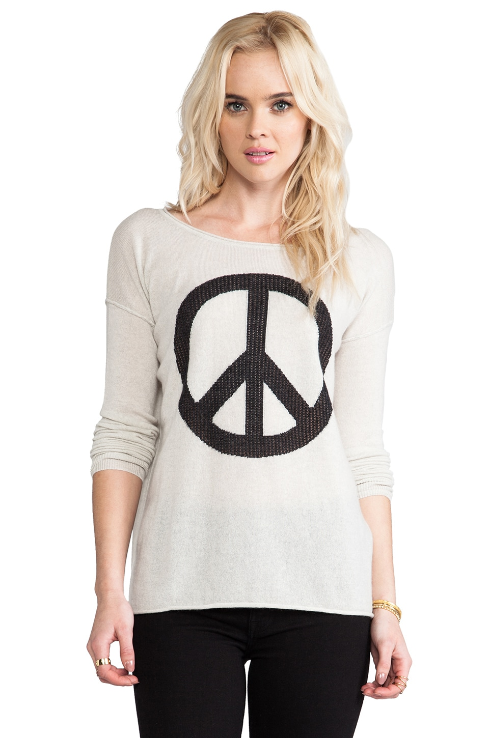 Autumn Cashmere Peace Crew Sweater in Hemp/Pepper