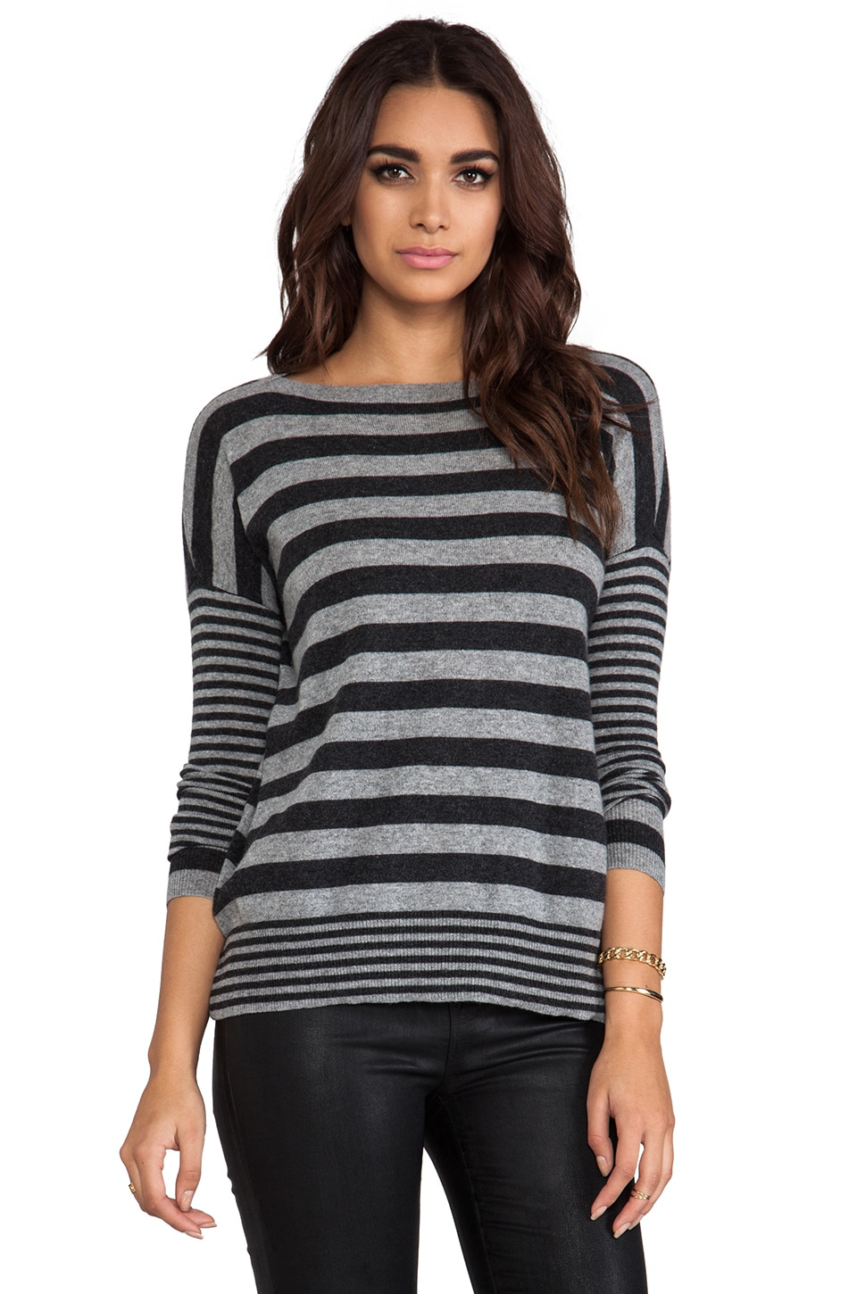 Autumn Cashmere Boxy Mixed Stripe Boatneck Sweater in Cement/Pepper