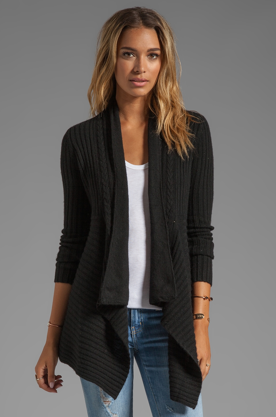 Autumn Cashmere New Rib Drape With Cable Cardigan in Ebony