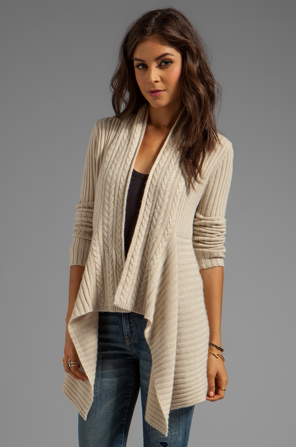 Autumn Cashmere New Rib Drape With Cable Cardigan in Parchment
