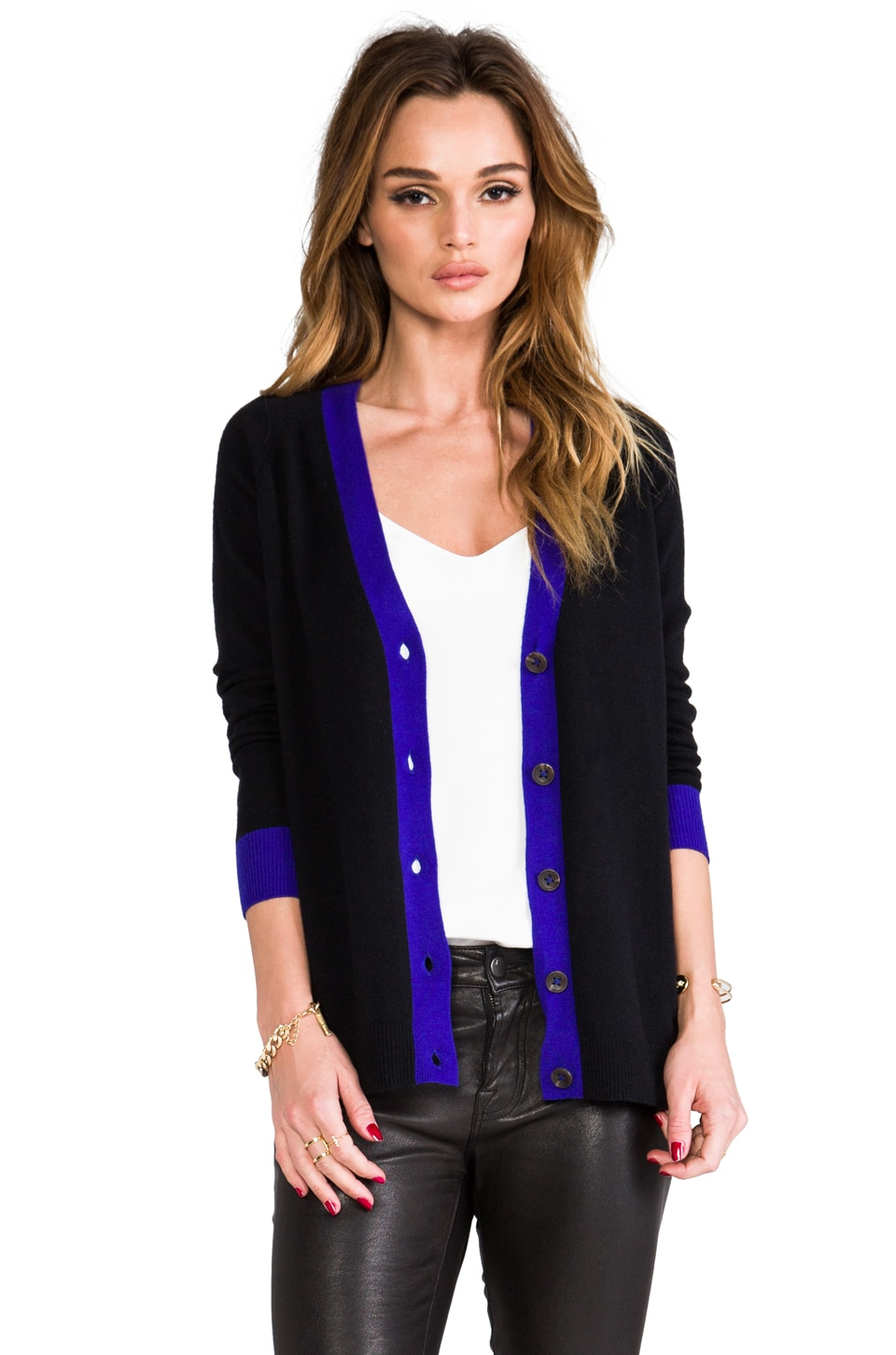 Autumn Cashmere 2-Tone Button Back Cardigan in Black/India Ink