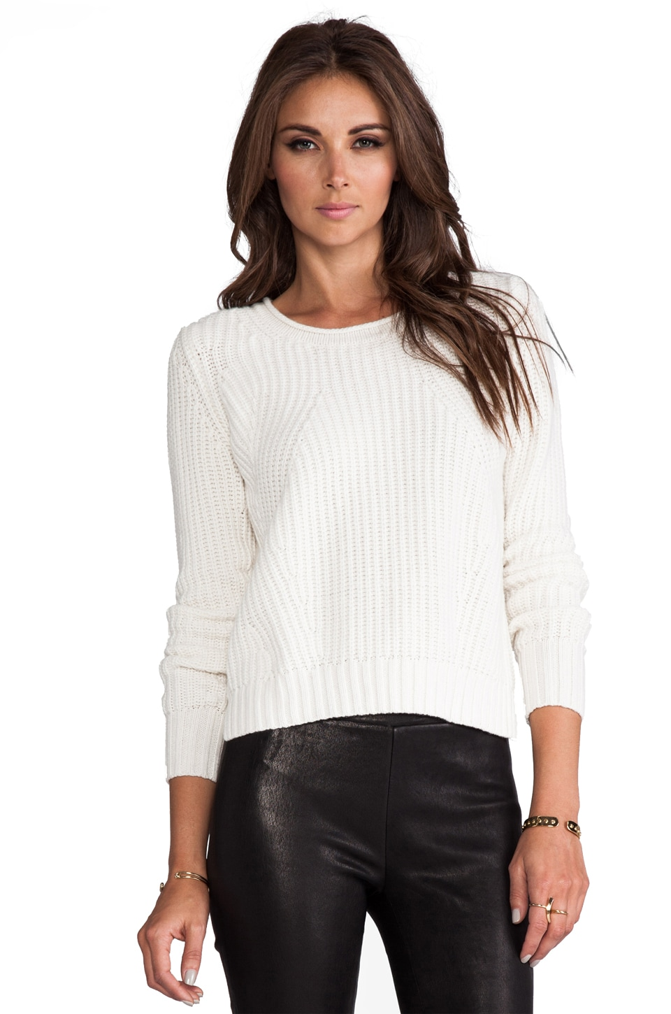 Autumn Cashmere Shaker Stitch Crop Crew in Winter White