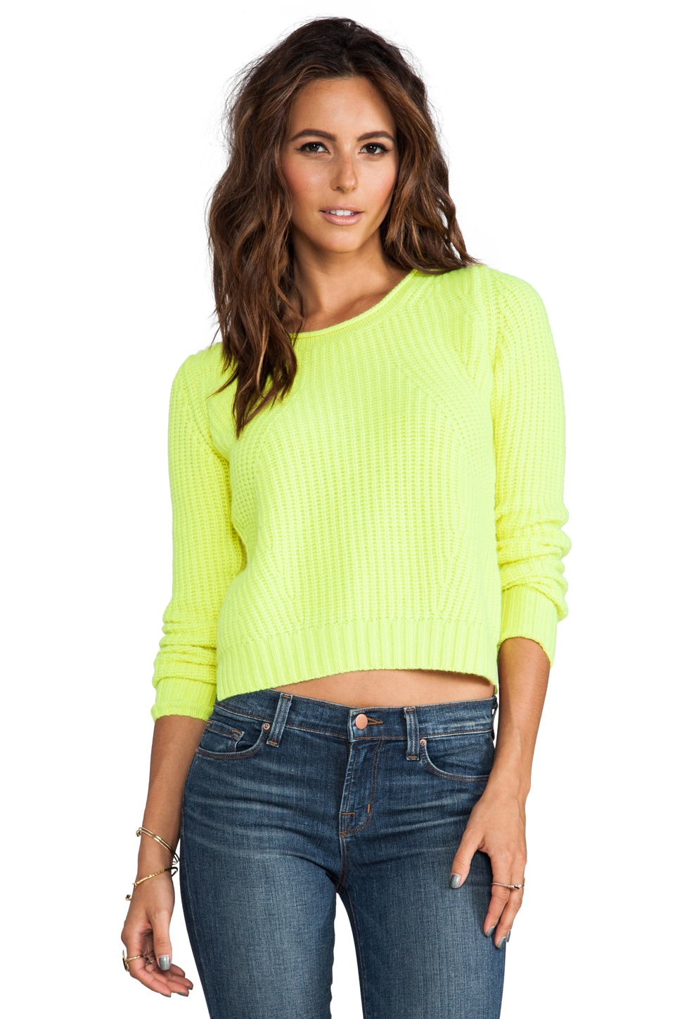 Autumn Cashmere Shaker Stitch Crop Crew in Day Glo