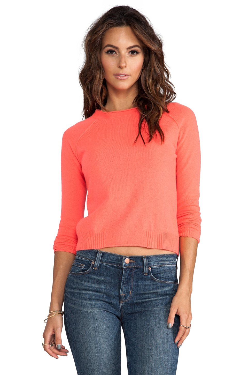 Autumn Cashmere Raw Edge Crop Sweater in Flash