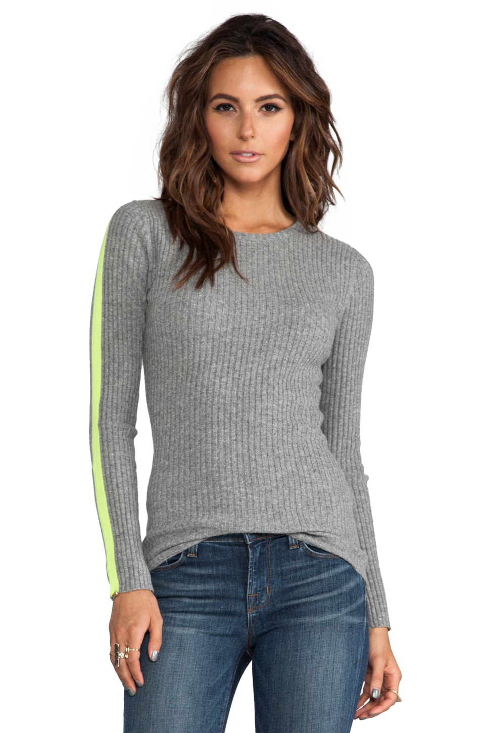 Autumn Cashmere Ribbed Crew With Athletic Racing Stripes in Cement/Day Glow