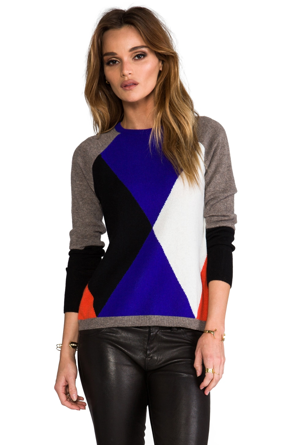Autumn Cashmere Geo Graphic Crew in Rye/India Ink/Koi/Black/Winter White