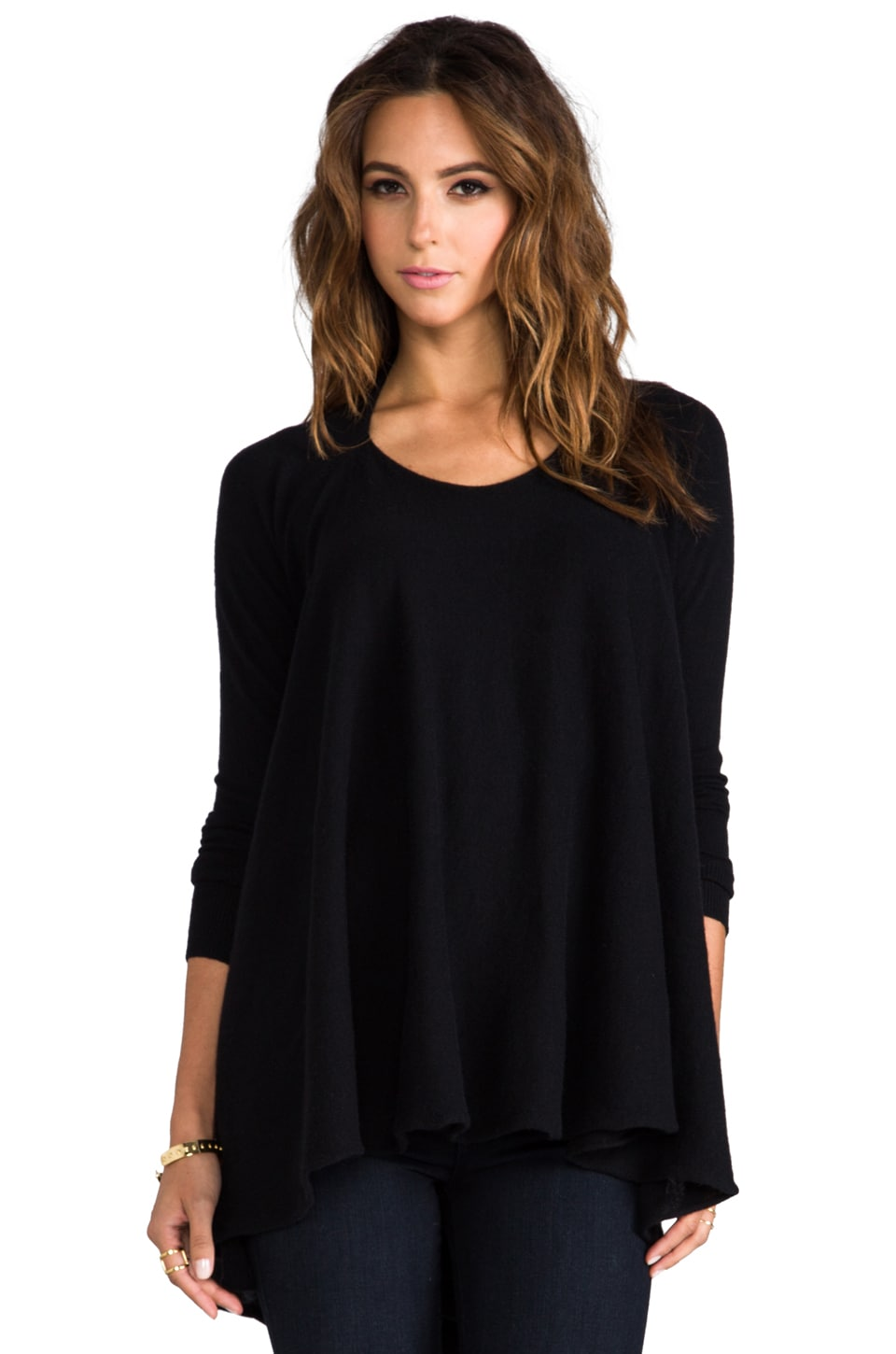Autumn Cashmere Convertible Flare Tunic in Black