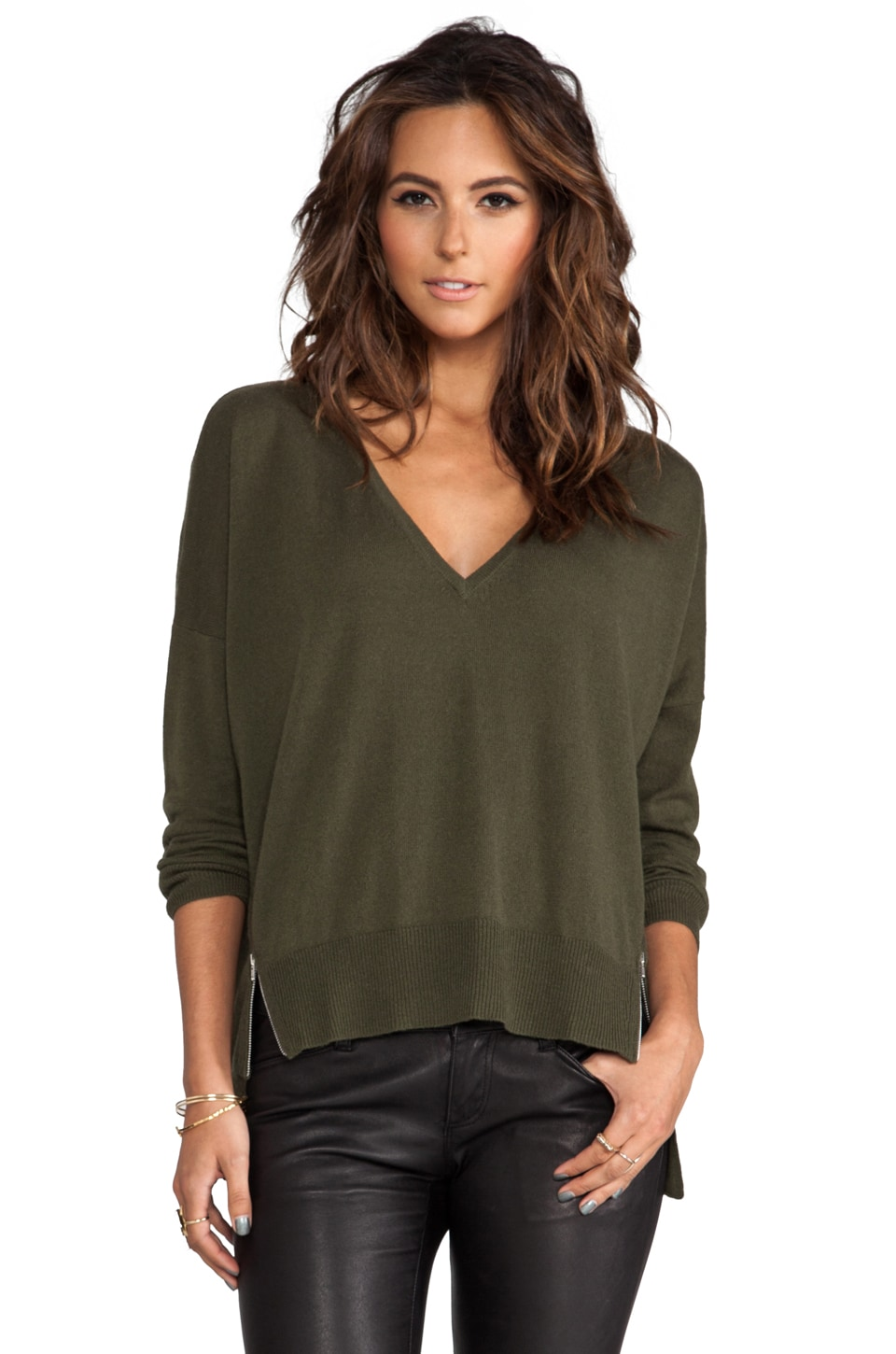 Autumn Cashmere Hi Lo V-Neck Sweater with Side Zippers in Sorrel