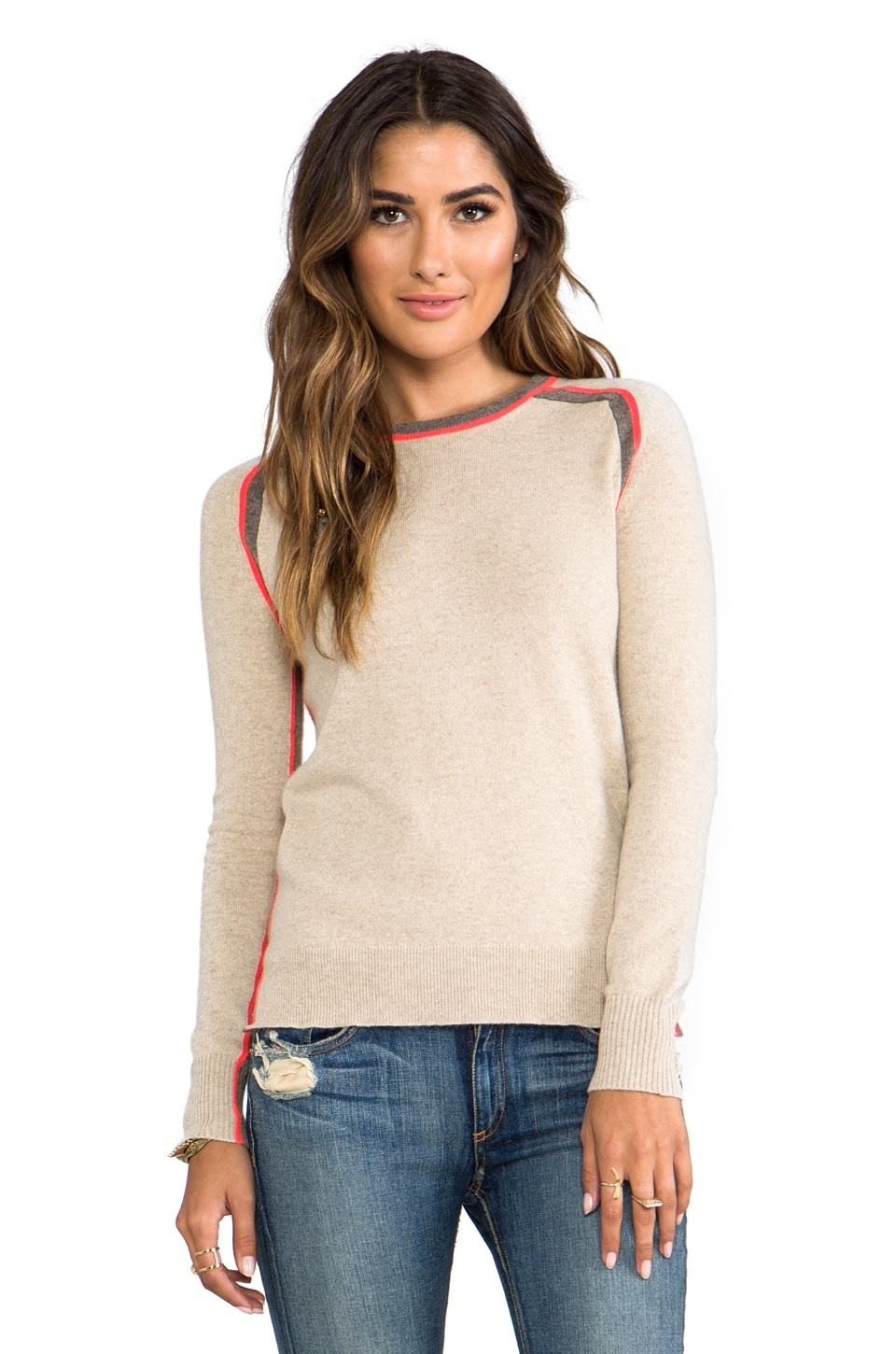 Autumn Cashmere Hi Lo Crew With Racing Stripes in Sandpaper/Rye/Flash