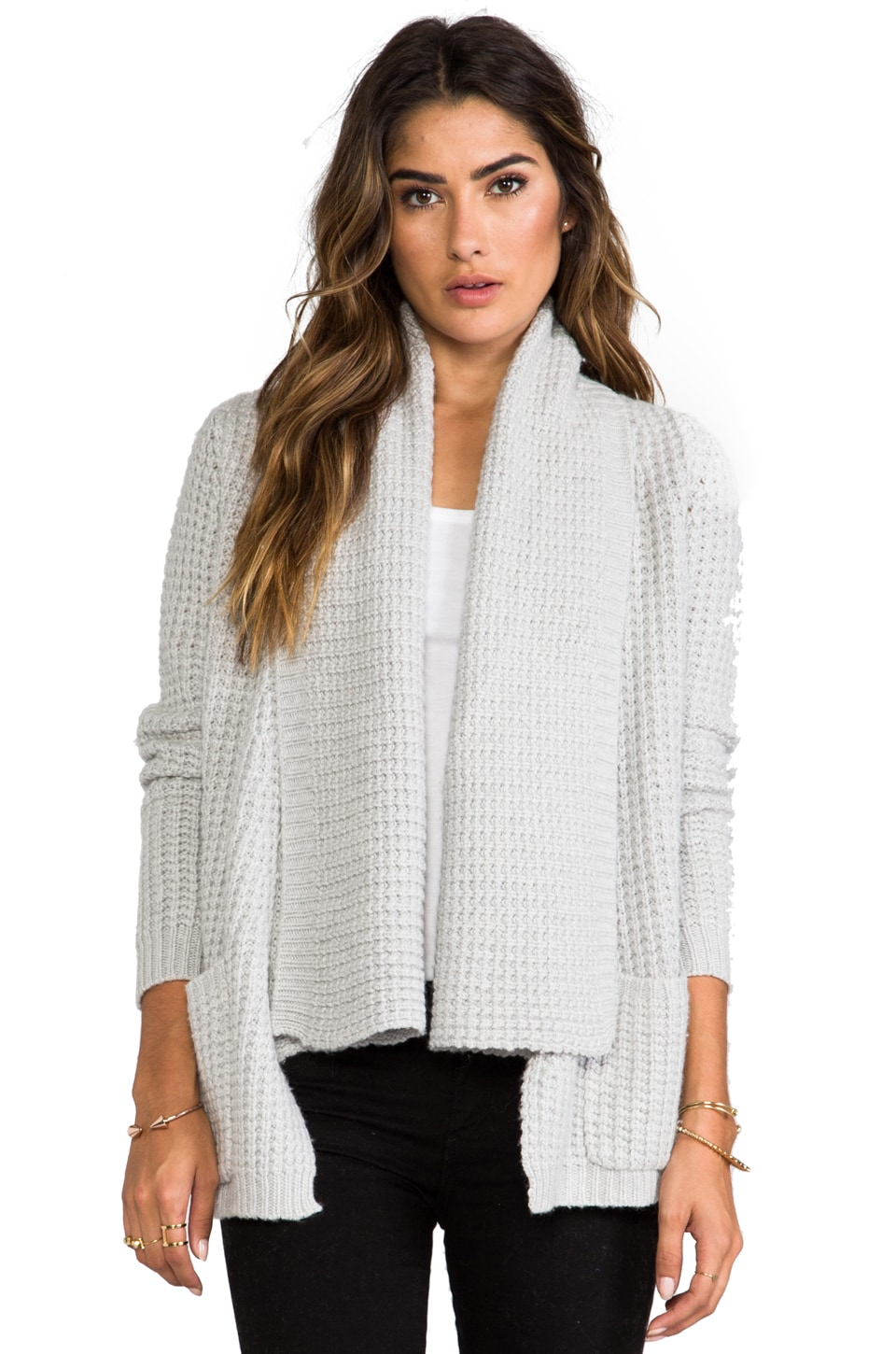 Autumn Cashmere Textured Drape Cardigan with Pockets in Frost