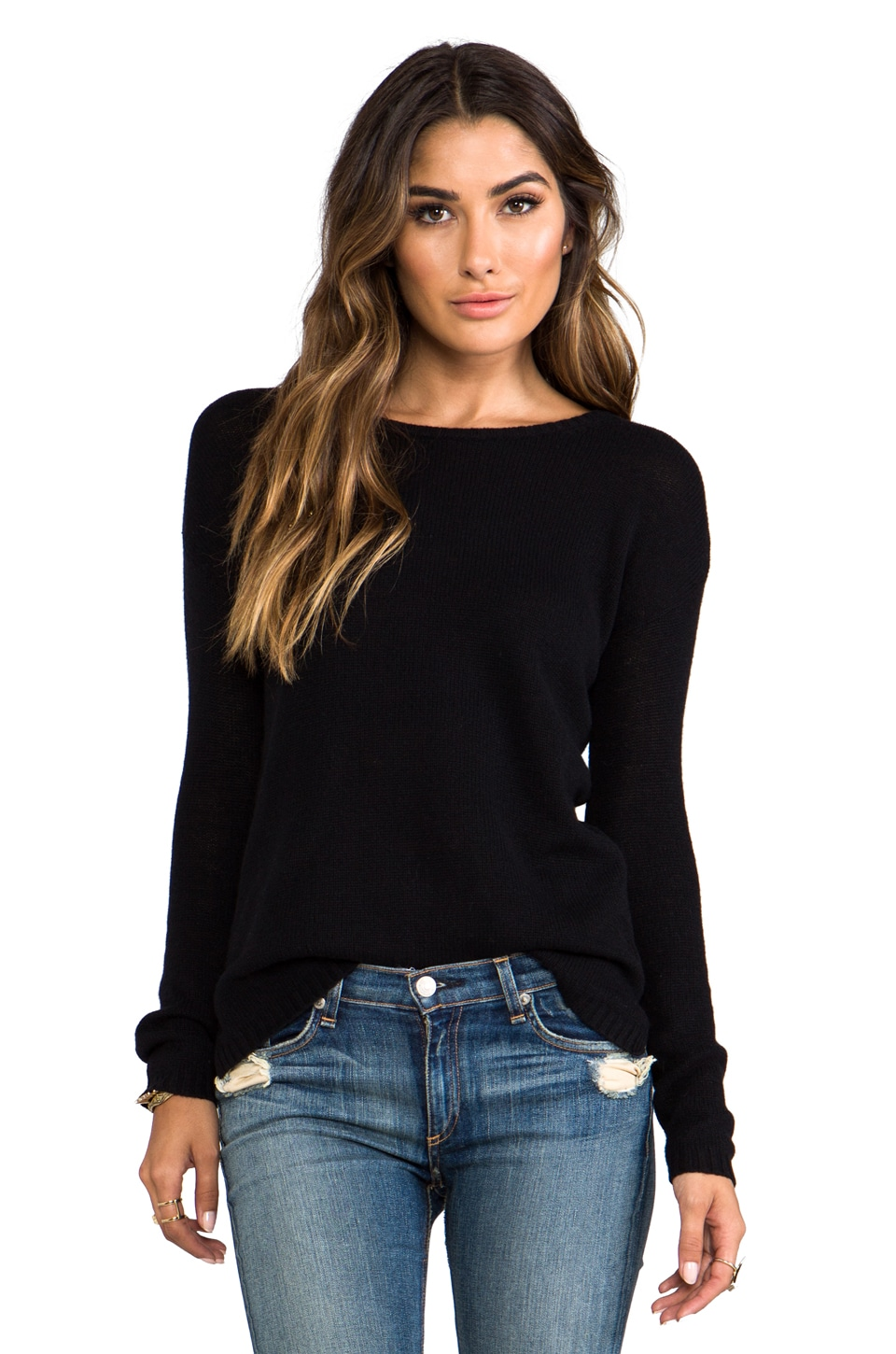Autumn Cashmere Loose GG Hi Low Crew in Black
